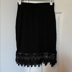 Black knit pencil skirt with lace hemline